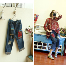 2017 new mori girl spring and summer female vintage national trend handmade beaded patchwork jeans ankle length trousers