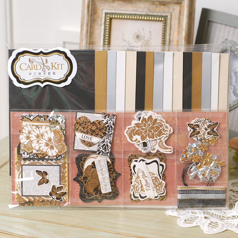 DIY 15 Blank Cards with Damask Paper Die Cuts Shape Scrapbooking Card Starter Kit