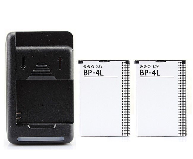 2Pcs 1500mAh Battery + USB Charger For <font><b>Nokia</b></font> E52 E55 E63 E71 E72 E73 N810 N97 E90 E95 6790 6760 <font><b>6650</b></font> BP-4L Battery image