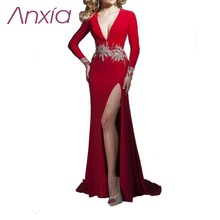 Sexy Split Tiefem V-ausschnitt Mit Langen Ärmeln Red Jersey Abendgesellschaft Kleid 2016 Gebördelte Blet Handarbeit Design Elegante Vestido De Renda