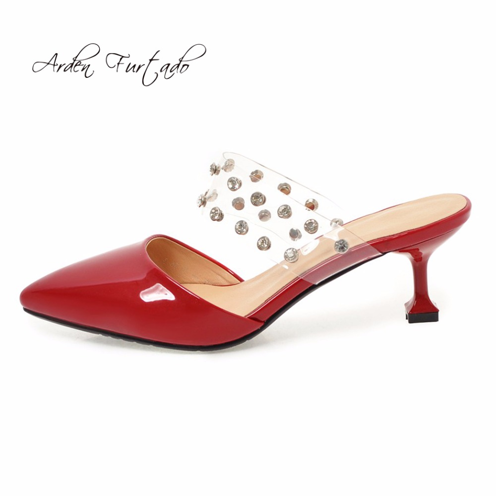 d68a68a3ff508c Arden Furtado 2018 new style shoes woman small size 32 33 fashion rivets  slip on red silver spike heels mules ladies slippers
