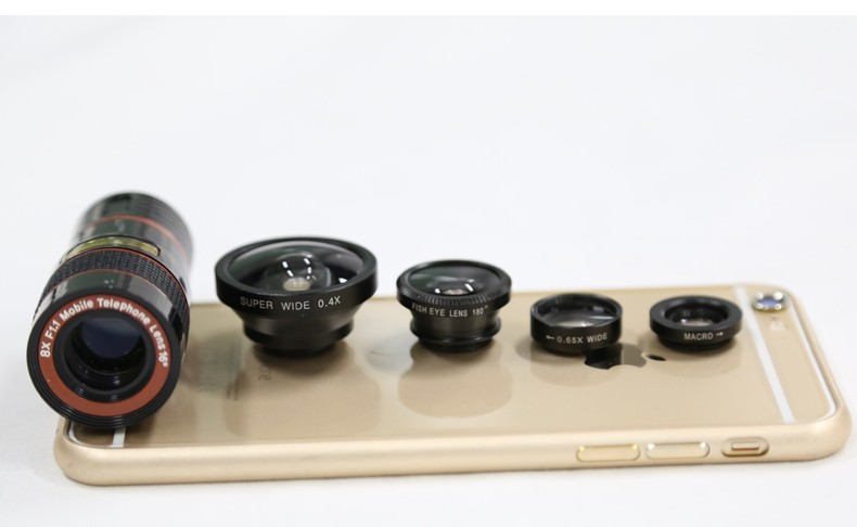 ORBMART 5 in 1 Lenses 8X Telescope 0.4X Super Wide Fish eye Wide Angel Macro For iPhone Samsung HTC Xiaomi Mobile Phone Camera 6