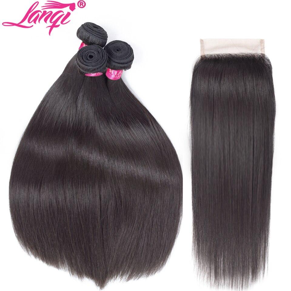Brazilian straight hair bundles with closure Human Hair weave bundles With Closure Non Remy 28 30