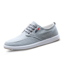 купить Gray Sneakers Men Canvas Shoes New 2019 Spring Men Shoes Male Canvas Shoes English Style Casual Shoes Lace Up Flats Size 39-44 дешево
