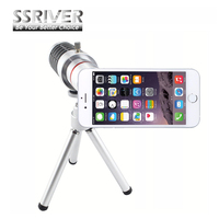 SSRIVER 12X Zoom Optyczny Teleskop Camera Lens + Statyw + Tylnej Pokrywy Telefonu 12X Zoom Lens dla iPhone 6 4.7