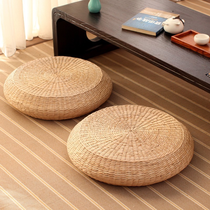 HOT SALE Tatami Cushion Round Straw Weave Handmade Pillow Floor Japanese Style Yoga Chair Sofa Adult Child Home Seat Mat 40/45cm