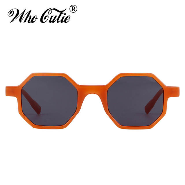 c86857e1c51 WHO CUTIE 2018 Octagon Sunglasses Men Women Brand Designer Vintage Orange  Frame Pink Lens Female Sun