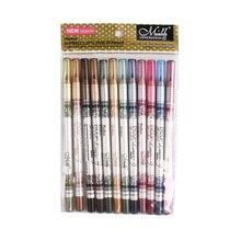 12pcs/set M.n Menow Hot Sale Eye liner lip 12color set lip pencil Lasting not blooming Makeup P12005 mac shiny pretty things lip set