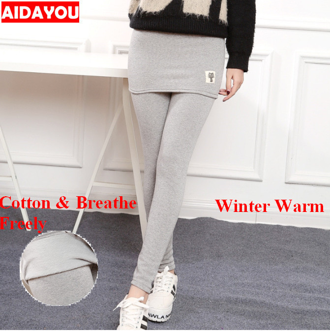 bb581dad5dbfd6 Detail Feedback Questions about Skirt Leggings for Women Plus Size Cotton Girl  Thick Fleece Warm Winter Cat Print Legging Everyday high waist Korean  ouc092 ...