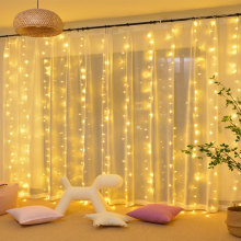 Christmas New Year LED Curtain String 8 Mode IP 44 Waterproof 3X3 Meters 110V 220V 18W Cooper Indoor Holiday Decoration Lighting