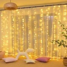 Natal de Ano Novo LED String Cortina 8 Modo IP 44 18 3X3 Metros À Prova D Água 110 v 220 v w Cooper Interior Iluminação Da Decoração Do Feriado