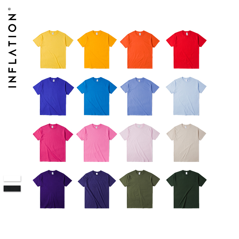 INFLATION Package Sale Summer   t     shirt   men Jersey Short Sleeve   T  -  Shirt   100% Cotton tee   shirt   homme 20 Colors Pick 1, 035S16