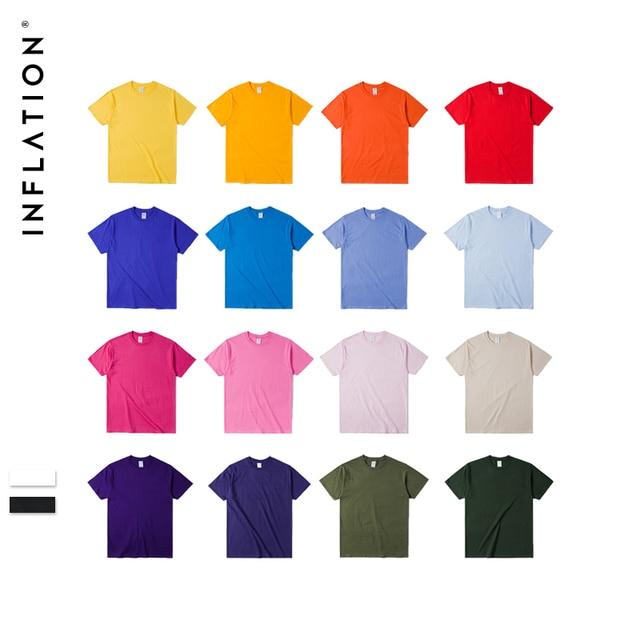 INFLATION Package Sale Summer t shirt men Jersey Short Sleeve T-Shirt 100% Cotton tee shirt homme 20 Colors Pick 1, 035S16