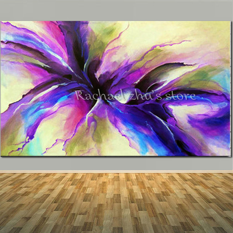 Purple Flower Oil Painting Abstract Wall Art Picture: Large Size Handpainted Modern Abstract Art Oil Painting On