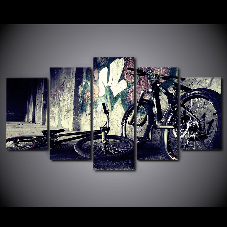 Art Painting HD Canvas Poster Printed Home Decor 5 Panel Abstraction Doodle Doodle Living Room Wall Modular Pictures Frame