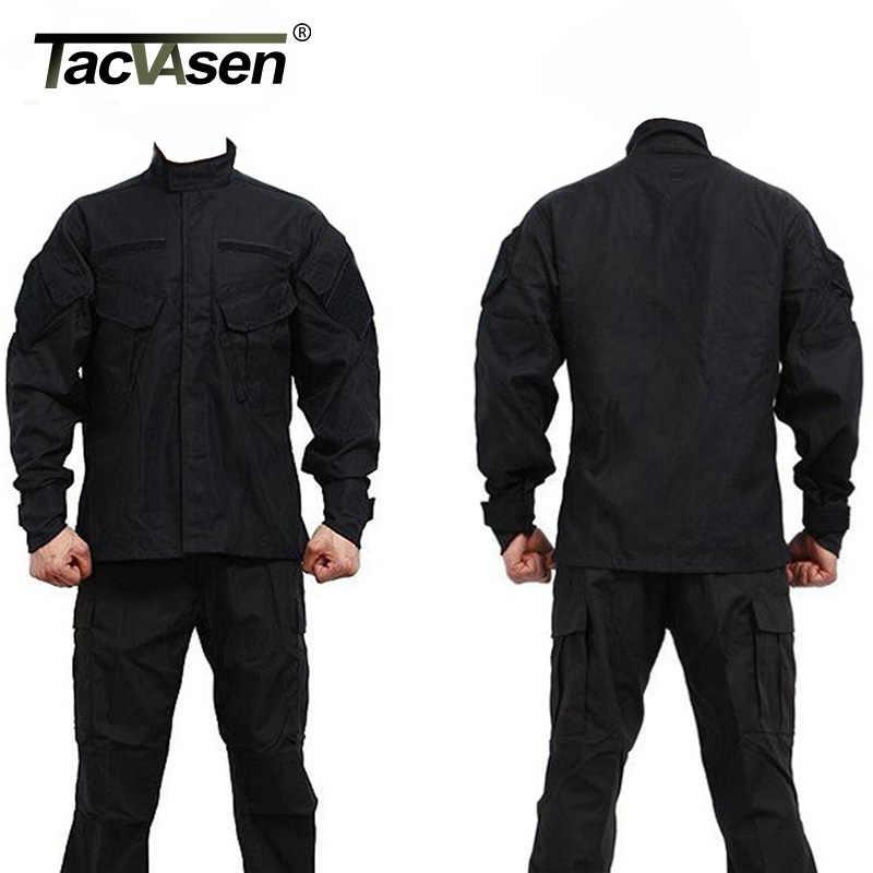 Tacvasen Pria CS Paintball Sesuai Tentara Tempur Bdu Seragam Militer Berburu Suit Permainan Lambang + Celana Set Jaket Taktis TD-JLHS-026