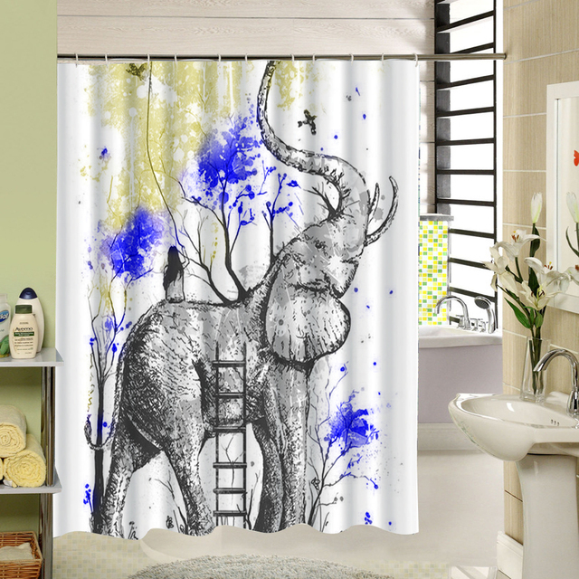 Fabric Elephant Shower Curtain 3d Printing Decorative Waterproof Mildewproof For Window Wet Room Kids
