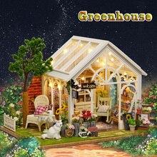 Diy Miniatura кукольный домик теплица Деревянный Кукольный дом модель наборы с музыкой рождественские игрушки для детей девочек подарок на день рождения