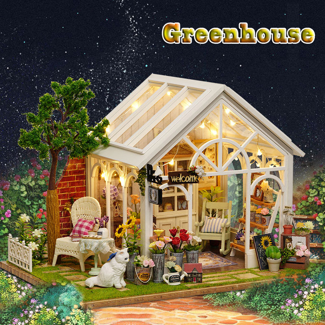 Diy Miniatura Puppenhaus Gewachshaus Holz Puppe Haus Modell Kits Mit