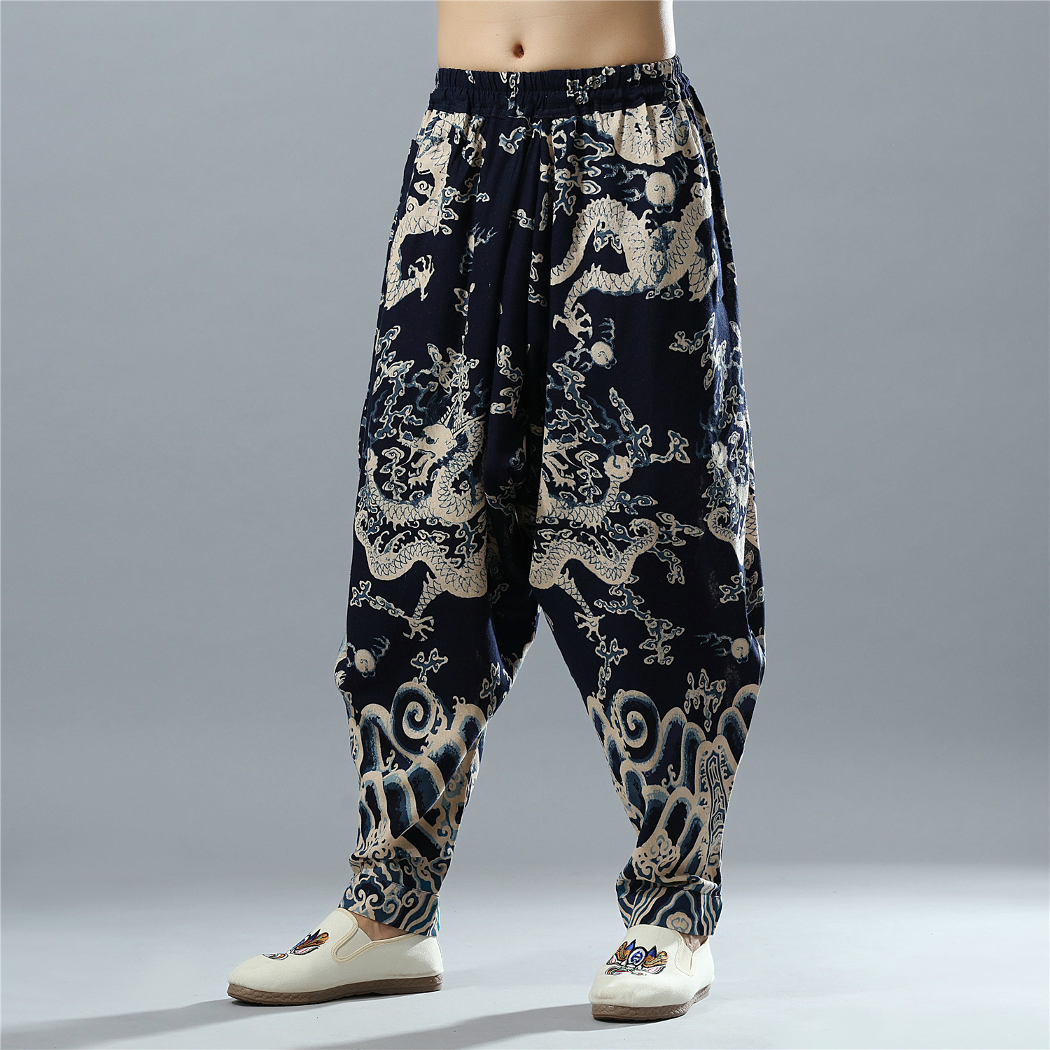 Male Fashion Casual Wide Leg Harem Pant Men China Style Dragon Printing Loose Casual Linen Pants Jogger Trousers