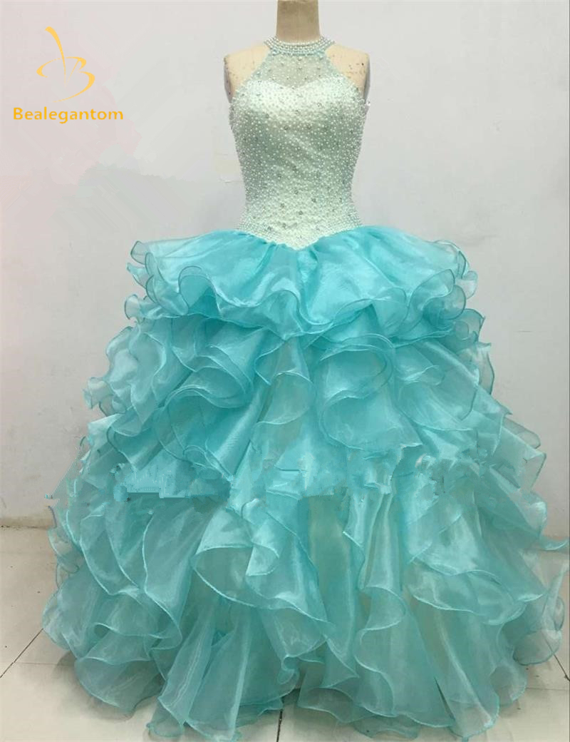 Bealegantom High Neck Ball Gowns Quinceanera Dresses 2019 Beaded Lace Up Sweet 16 Dresses Vestidos De 15 Anos QA1158 in Quinceanera Dresses from Weddings Events