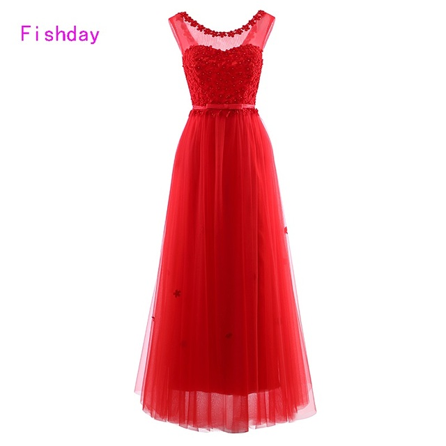 Fishday Evening Dresses Cheap Long Red Pink Flowers Women Appliques Elegant Formal Vestido Longo Occasion party gowns B30