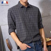 100% cotton Flannel mens dress shirts Long Sleeve vintage plaid Casual Shirt men brand clothes camisa masculina