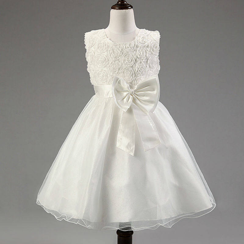 2016 Classical Sleeveless Bow Girls Princess Dresses Kids Wedding Rose Party Dress