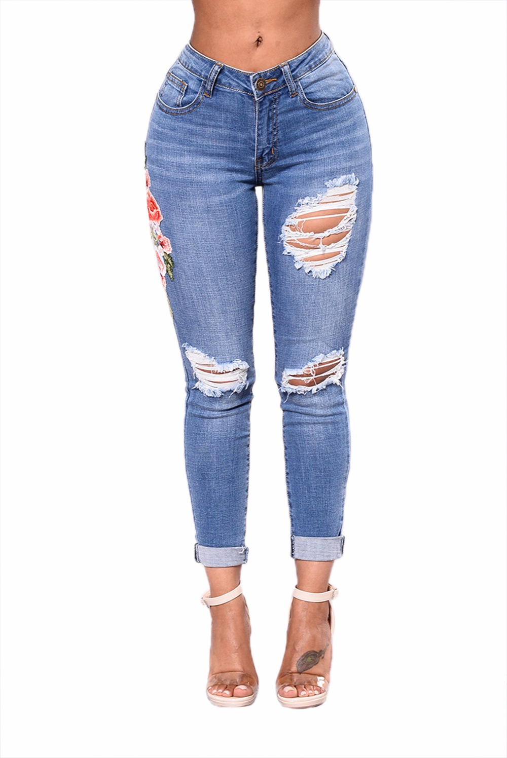 S-3XL Mid Rise Distressed Rose Embroidery Jeans Sex Women Jeans Xxx Usa Sexy Ladies Leggings Sex Pants