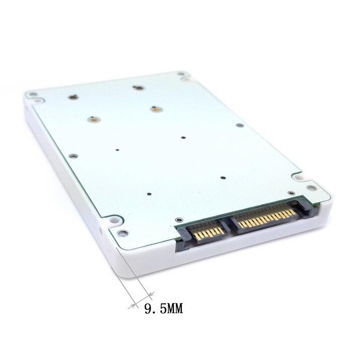 50pcs/lots 50mm mini PCI-E mSATA SSD to 9.5mm 2.5 SATA 22pin hard disk case Enclosure White dual msata raid to 22pin sata adapter 2 5 inch sata 3 0 enclosure usb3 0 to 2 msata sata 3 raid 0 1 free shipping