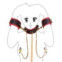 Factory direct sexy of neck sleeve milk clip hand set gold chain sponge BDSM bound neck sleeve red collar