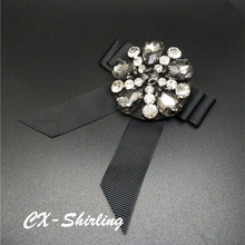 CX-Shirling Women Antique Brooch Pins High Quality Big Size All Match Fabric Bowknot Crystal Pin For Dress Outwear Female