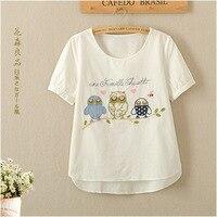 Japoński Sen Linia Żeńska małych Świeże Dzikie Słodkie Sowa Haftowane Bawełniane z Krótkim rękawem T-shirt Kobiet