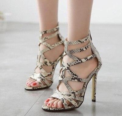 8aaa9a59 Zapatos Cuero Verano Tacón Boom Sneaker fd750 Serpiente Romano Hueco  Poadisfoo Alto 2018 Sandalias Stiletto Estilo Mujer 3 Nuevo ...