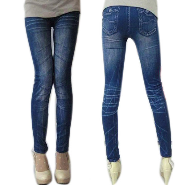 Women Stonewash Denim Skinny Leggings Stretchable Pencil Pants Tights faux Jeans  Stonewash Slim Legging