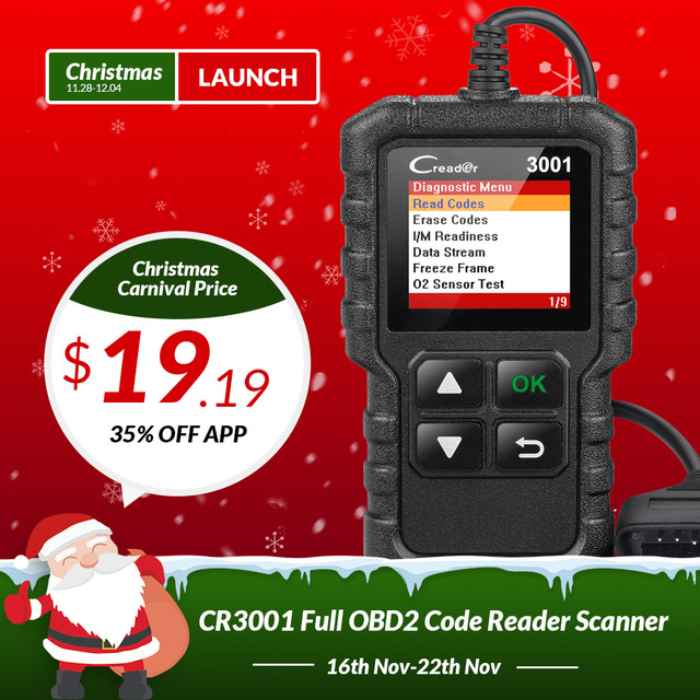 Best Price LAUNCH X431 Creader 3001 OBDII OBD2 Code Reader Support Full OBD 2 EOBD function CR3001 Auto Scanner PK AD310 NL100 ELM327