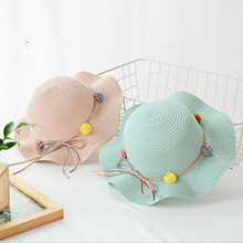 SUOGRY Kids Baby Girl Anti-UV Straw Hat Children Summer Visor Beach Wavy Sunhat Cap