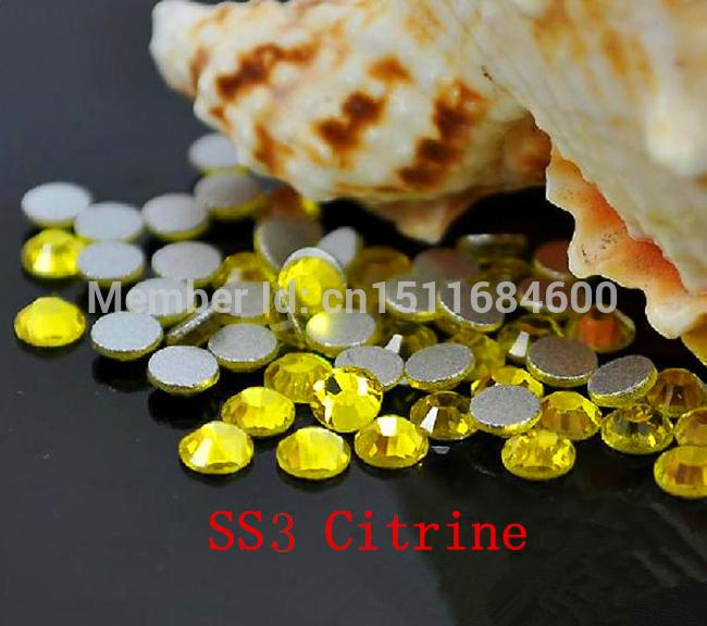 1440pc/bag SS3 1.3-1.4mm Citrine Yellow Non HotFix FlatBack Rhinestones,Glass Glitter Glue-on Loose DIY Nail Art Crystals Stones gitter 2 6mm citrine ab color resin rhinestones 14 facets round flatback non hotfix beads for 3d nail art decorations diy design