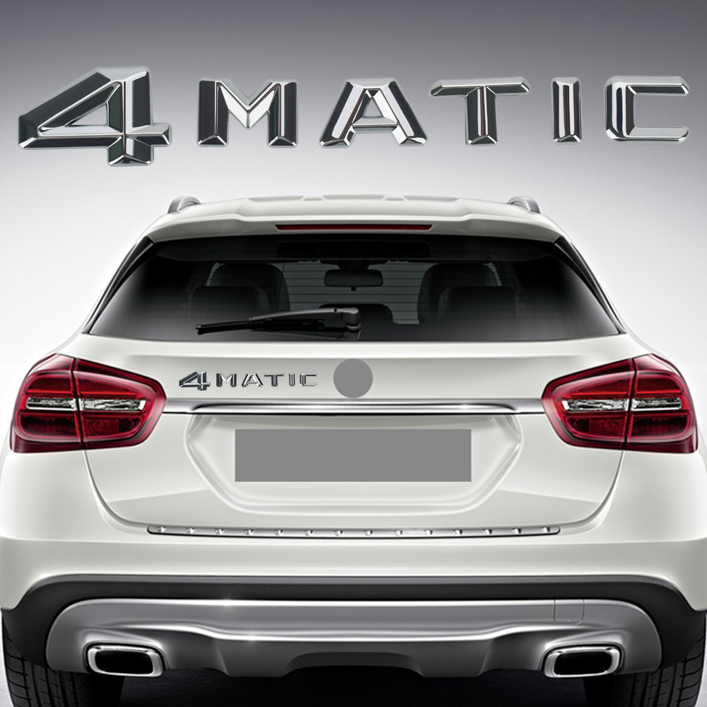 1PCS Car Styling For Mercedes 4Matic Trunk or Side Emblem Chrome Badge Logo Car Stickers ABS For Benz W124 W210 C E CL CLS R