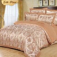 SILK PLACE Fashion Brand Satin Bedding Set Russian Supply Designer Cotton Bed Comfortable Sheet Jacquard Coverlets Pillowcase