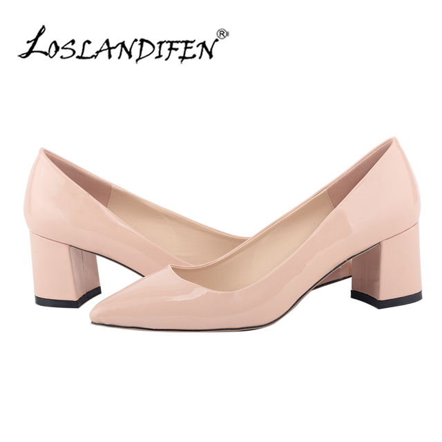 625be806f0c New LOSLANDIFEN Women Pumps Thick High Heel Shoes Office Nude Pumps Low Heel  Classics Patent Leather Boat Shoes 0689-1PA