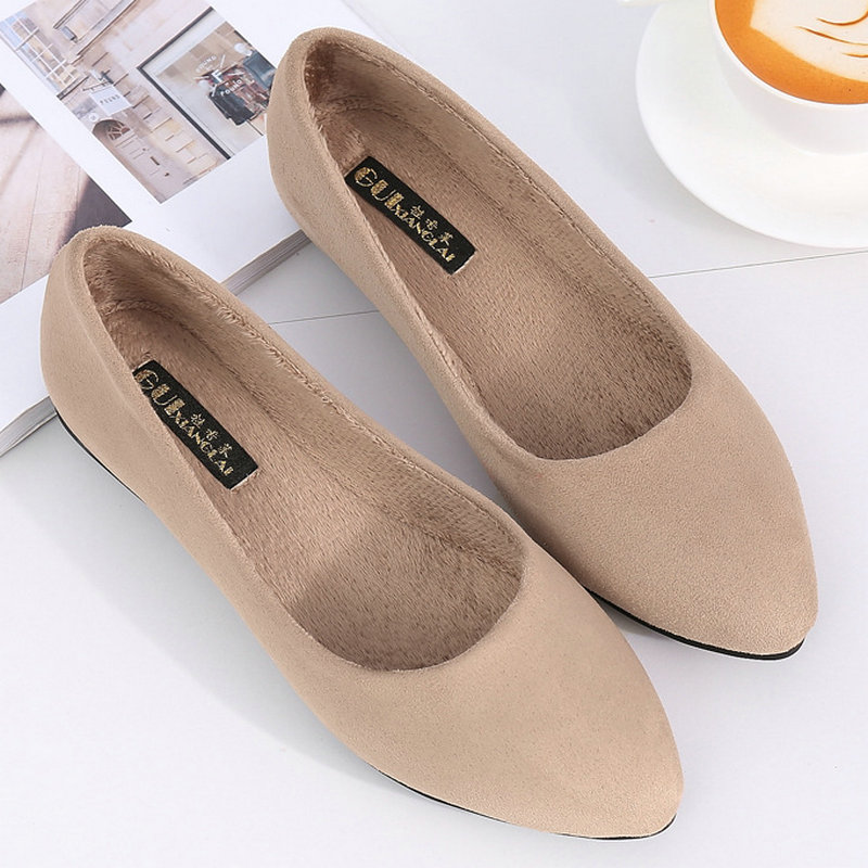 New Women Flats PU Leather Flock Brand Casual Shoes Comfy Pointed Toe Loafers Shoes Fashion Flat Shoes Slip-On Shallow Winter women flats slip on casual shoes 2017 summer fashion new comfortable flock pointed toe flat shoes woman work loafers plus size