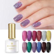 BORN PRETTY Holographic Gel Nail Polish 6ml Shimmmer Glitter Rainbow Silver Shining Soak Off UV Art Lacquer