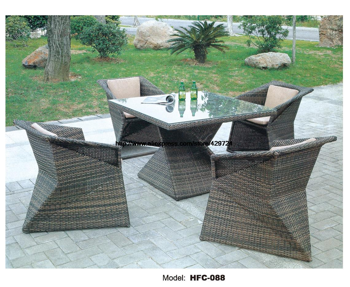 Patio Furniture Table And Chairs Us 799 Creative Diamond Shaped Table Chair Set Modern Design Rattan Garden Set Leisure Balcony Hotel Garden Holiday Outdoor Furniture In Garden