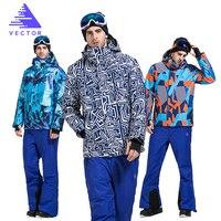 Vector Brand Skiing Jacket and Pants Men Warm Winter Snowboarding Suit Waterproof Windproof Ski Snow Suit Men HXF70012