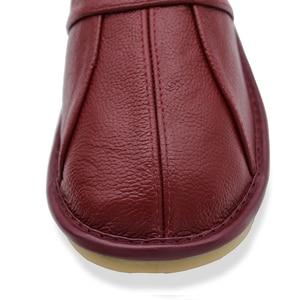 Image 5 - 石村牛革革夏のサンダルの女性カップルの家の靴男性の夏の家の床ノンスリップ靴のサイズ35 44