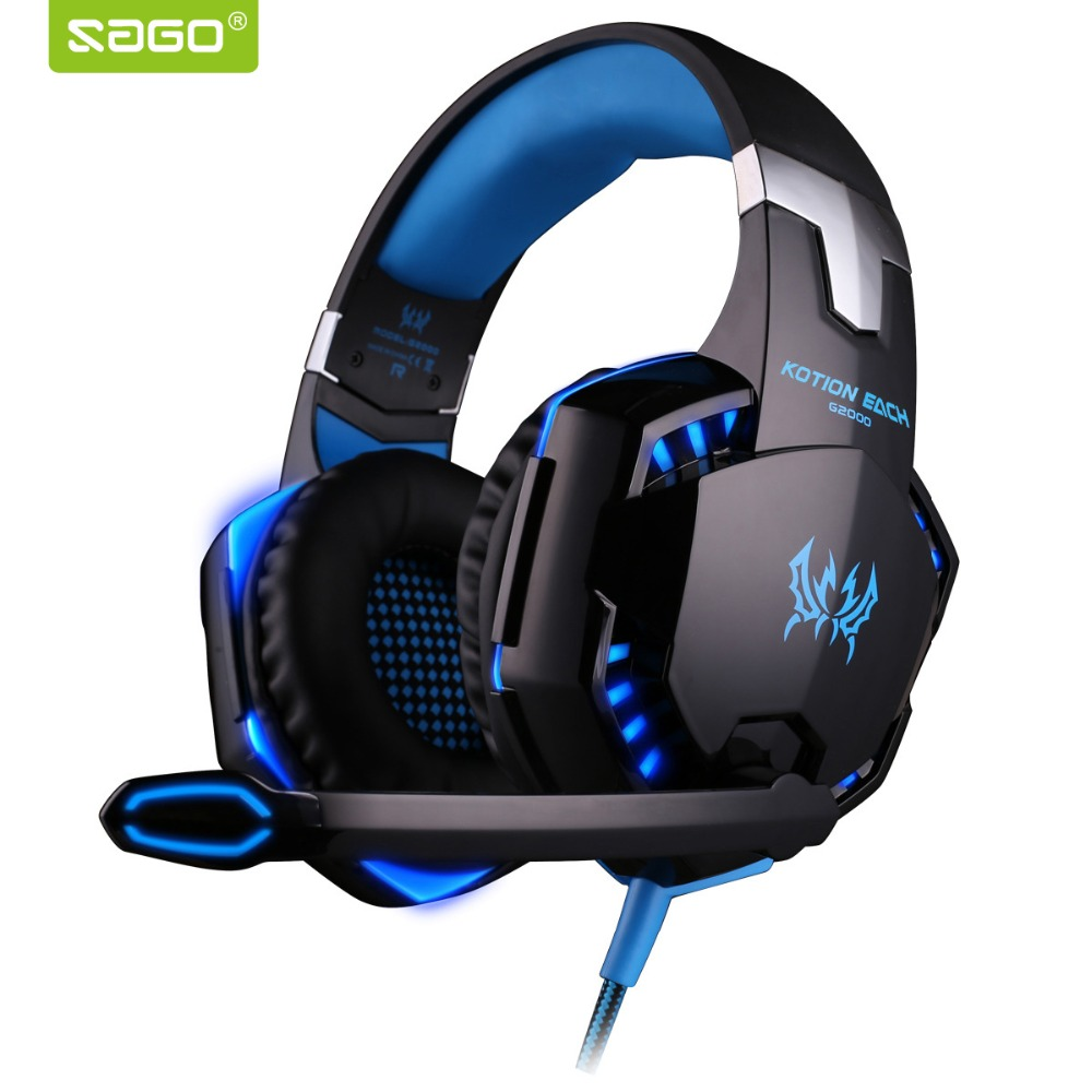 EACH G2000 Deep Bass Game Headphone Stereo Surrounded Over-Ear Gaming Headset Headband Earphone with Light for Computer PC Gamer led bass hd gaming headset mic stereo computer gamer over ear headband headphone noise cancelling with microphone for pc game