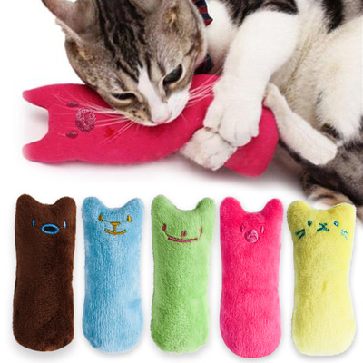 Teeth Grinding Catnip Toys Funny Interactive Plush Cat Toy Pet Kitten Chewing Vocal Toy Claws Thumb Bite Cat Mint For Cats Hot