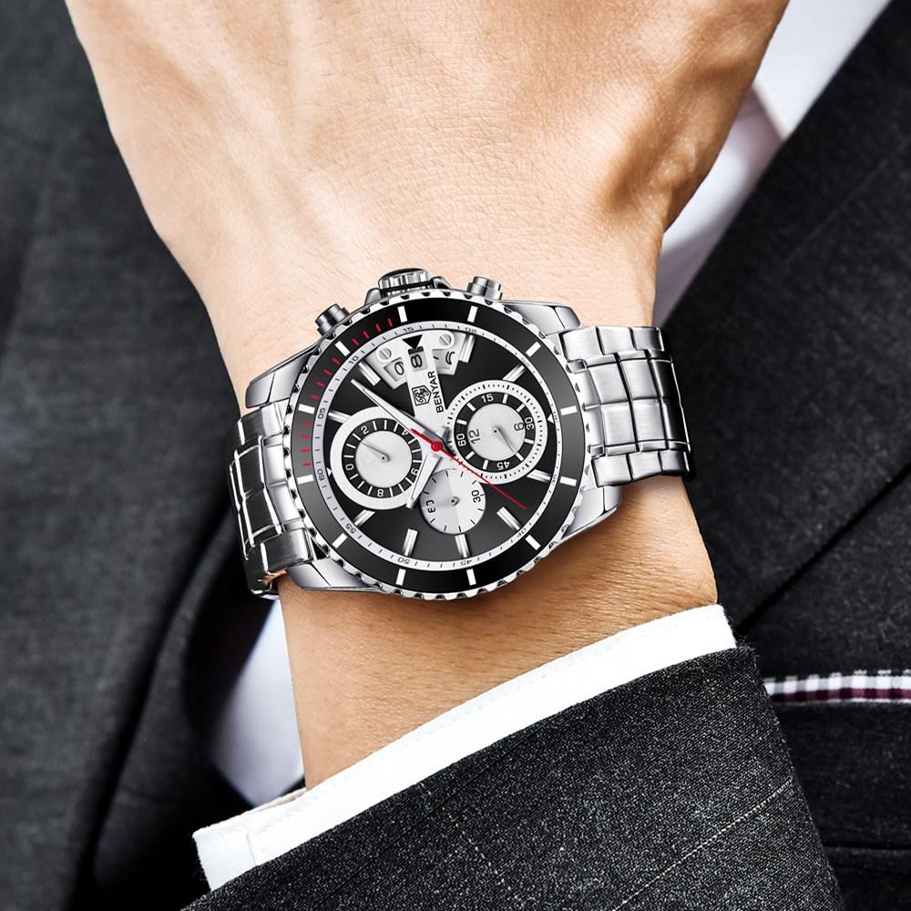 Top Brand Luxury BENYAR Stainless Steel Vattentät Chronograph Sport - Herrklockor - Foto 4