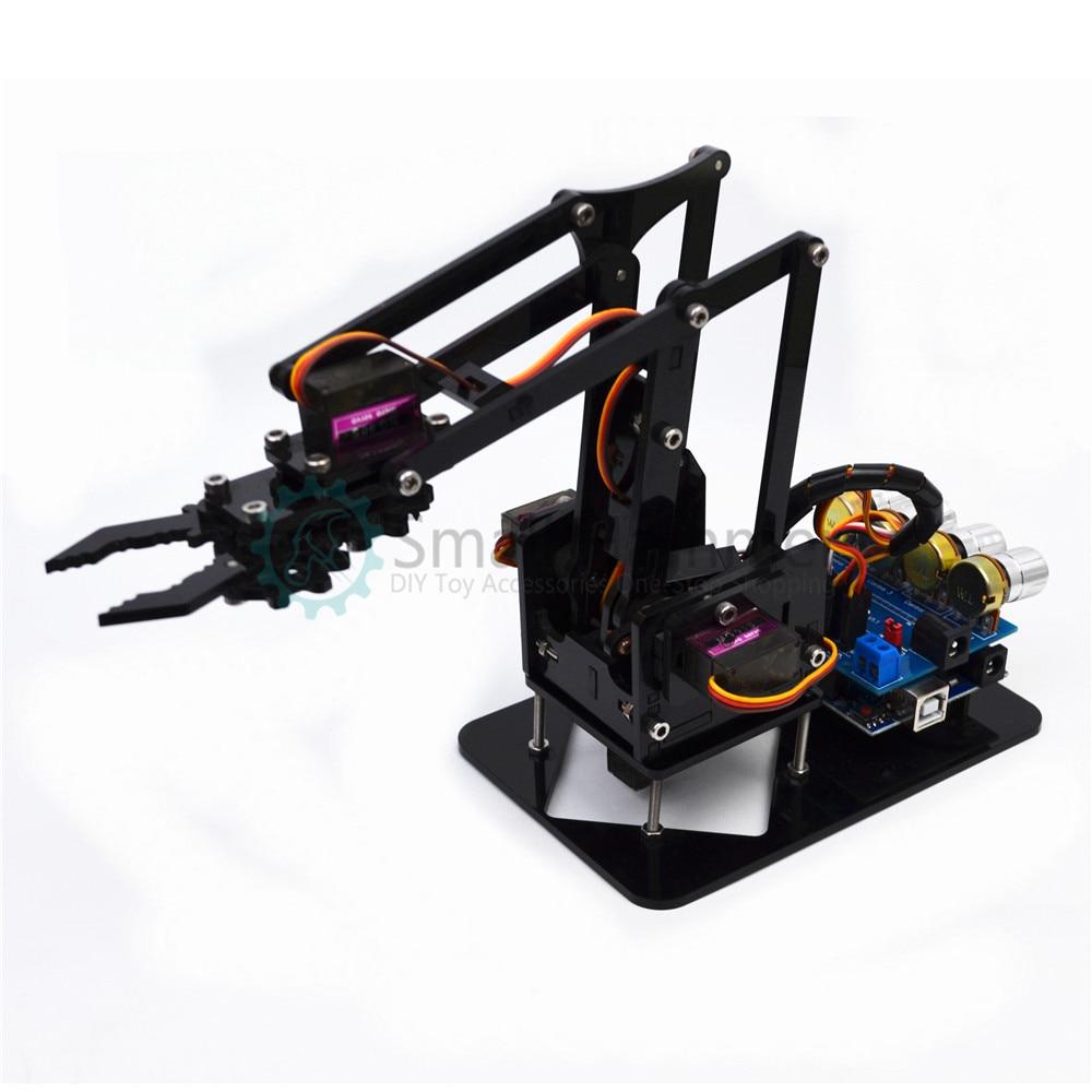 Bricolage acrylique bras robot bras griffe arduino kit 4DOF kit d'apprentissage